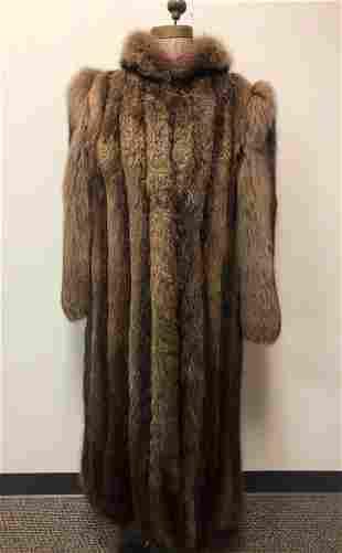 Brown Beaver Full Length Fur Coat