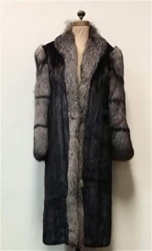 SAGA Ranch Mink with Indigo Fox Tux and Collar Fur Coat