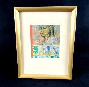 "Original Framed Oil Painting Segment "" Yong Woman """