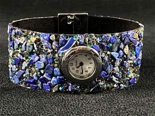 New STRADA Blue Stone Crystal Band Watch W/ Box &