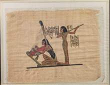 Hand Painted Egyptian Papyrus Art Two Musicians