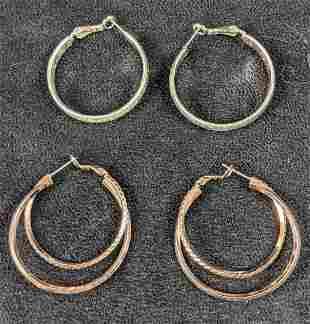 Two Silverplate Hoop Earrings