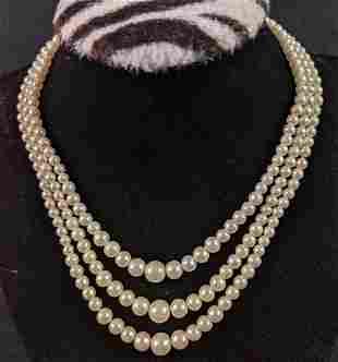 Richelieu Triple Strand Faux Pearl Necklace