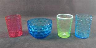 Four Vintage Coin Dot Small Drinking Glasses Bowl