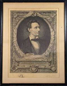 Antique Signed Max Rosenthal Abraham Lincoln Etching