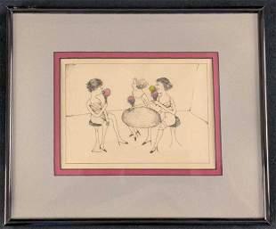 Vintage Framed Print Ladies Licking Snowcones X1