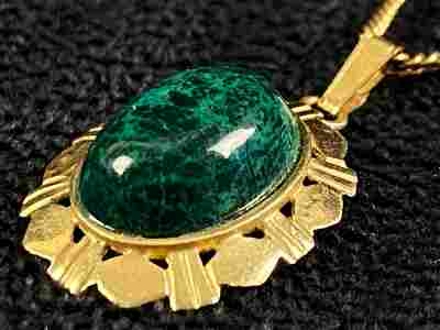 Vintage 14K Gold Polished Turquoise Solitaire Pendant &