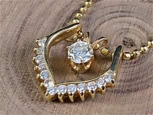 Fine Estate Diamond Pendant & 14K Gold Beaded Necklace