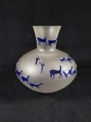 Frosted Glass Cave Art Vase by Richard W 1978