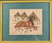 Framed Egyptian Sphinx Pyramids Hand Painted Papyrus