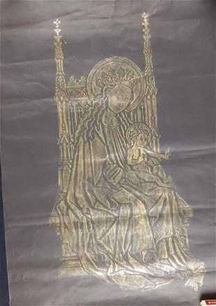 Vintage Madonna and Child Original Brass Rubbing