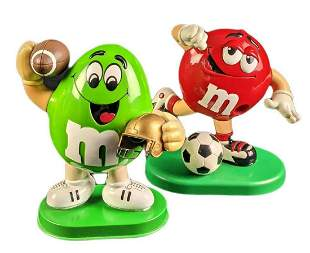 Two M&M Dispensers Green With Football Soccer Red