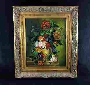 Vintage Original Oil On Canvas Floral Still Life Signed