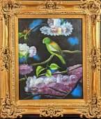 Oriignal Framed Oil On Canvas Green Parakeet X9