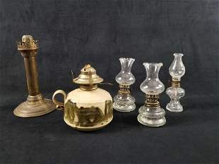 Antique Oil Lamps And An Original Windlight Candle Lamp