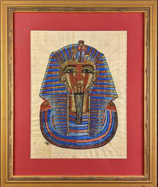 Framed Egyptian Tutankhamun Hand Painted Papyrus Art