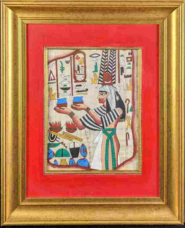 Framed Egyptian Hieroglyphic Hand Painted Papyrus Art