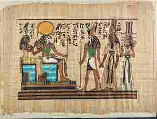 Egyptian Meeting Of The Gods Hand Painted Papyrus Art