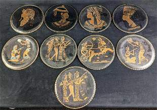 Vintage Nine Copper Egyptian Style Plates