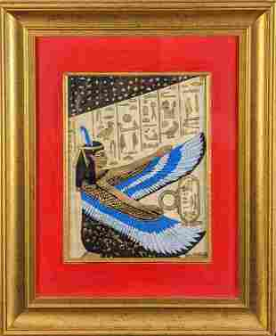 Framed Egyptian Goddess Isis Hand Painted Papyrus Art