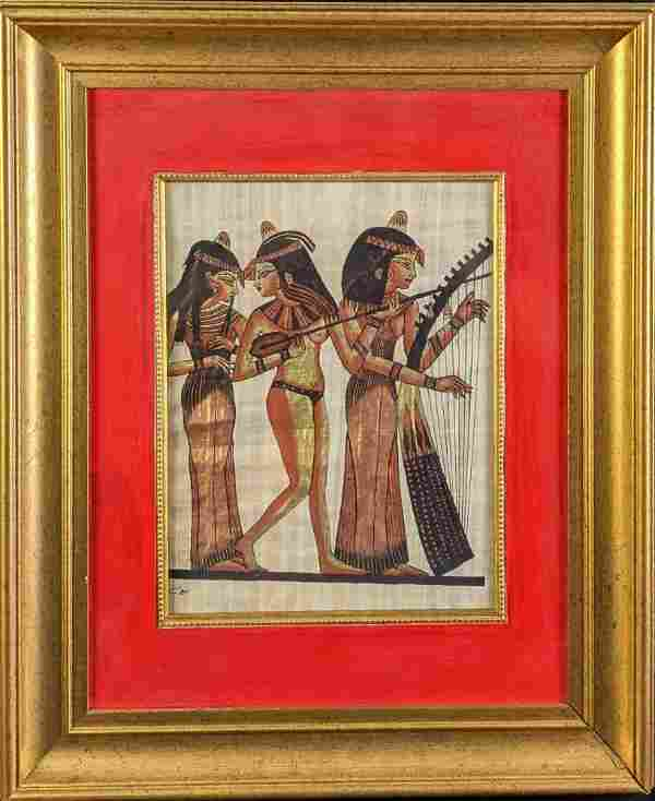 Framed Egyptian Female Musicians Hand Painted Papyrus