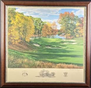 Framed Linda Hartough AP Litho Brookline Country Golf
