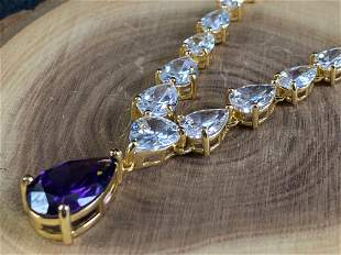 Stunning Gold Plated Sterling Silver CZ & Amethyst