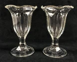 Two Molded Glass Parfait Glasses