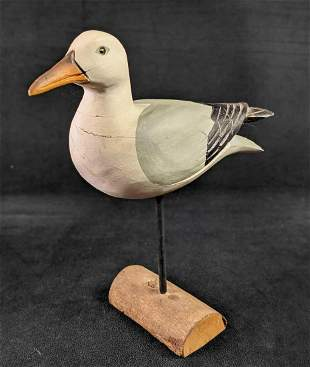 Vintage Handcarved Wooden Seagull A