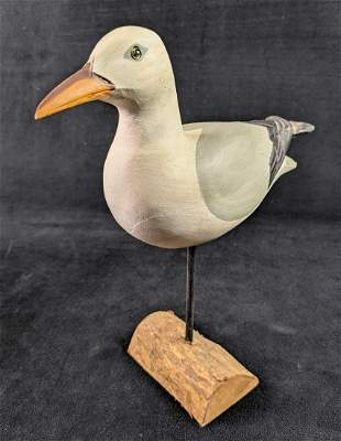 Vintage Handcarved Wooden Seagull B