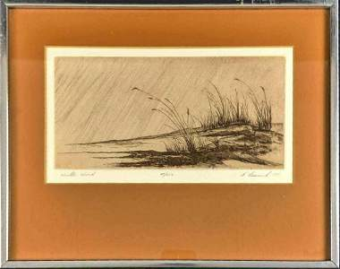 Etching Print Lessnick Signed Numbered Winter Wind