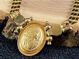 Vintage Saudi 18K 750 Panther Link Cameo Necklace