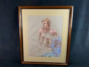 Original Signed B Martin Nude Female Chalk Art Portrait