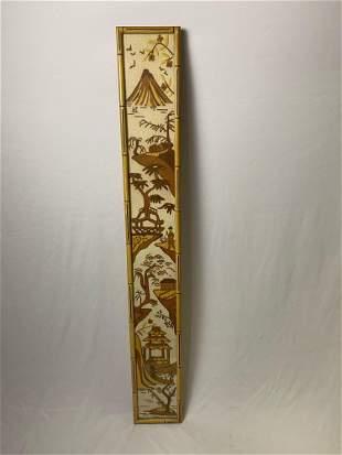 Vintage Original Chinese Needle Point Framed Bamboo