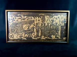 Vintage Original Wood Block On Fabric Hindu Wall Art