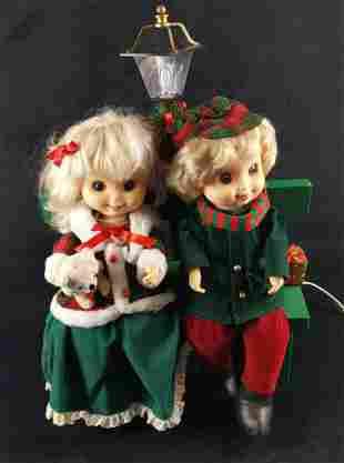 Animated Children On Bench Christmas Figurine