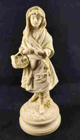 Vintage Parian Biscuit Porcelain Woman W Flowers
