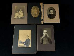 Antique Lot Of 5 Late 1800's - Early 1900's Pictures
