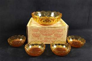Five Vintage Berry Glass Bowls Large And Small