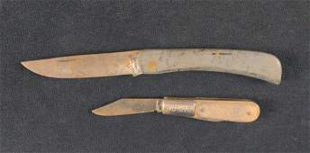 Two Vintage Lock And Fold Knives Case Barlow