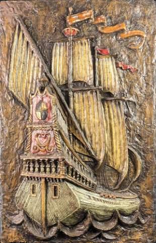 Vintage Vanguard Studios 3-Dimensional Pirate Ship Art