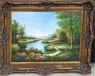 Large Original Oil On Canvas Flowers Pond Scenery J