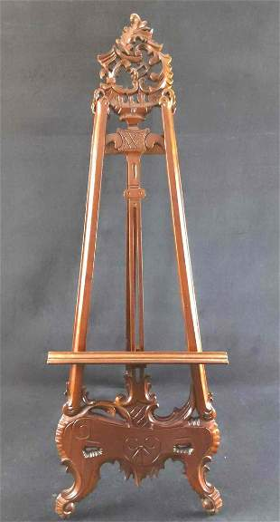 Vintage Reproduction Hand Carved Mahogany Easel