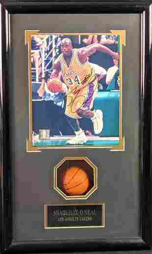Framed Shaquille O'Neal Photo With Mini Basketball Los