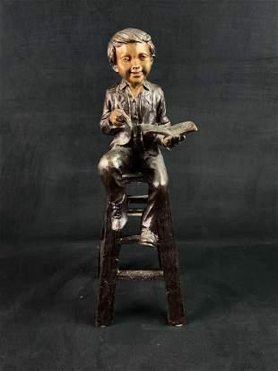 Antique MOREAU School Boy On Stool Bronze Sculpture