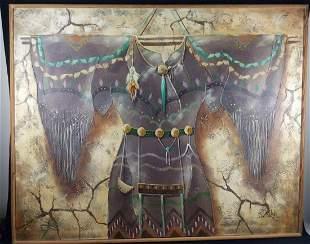 Large R Nichols Original Painting Native American