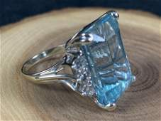 Vintage 14K White Gold Natural 12 Ct Blue Colored Stone