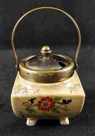 Vintage Porcelain Limoges Sugar Bowl W Silver Lid