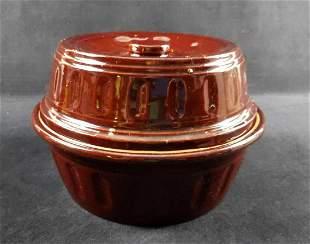 Vintage USA Stoneware Brown Bean Pot and Lid