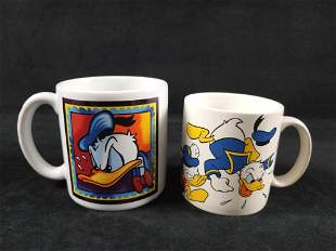 Lot of 2 Walt Disney World Donald Duck Mugs